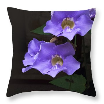 Blue Mandevillas Throw Pillow