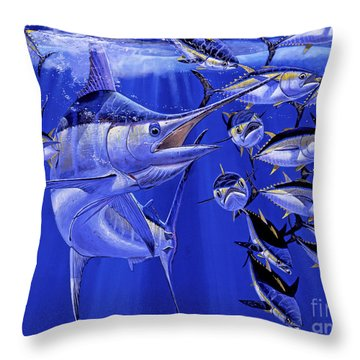 Blue Marlin Round Up Off0031 Throw Pillow
