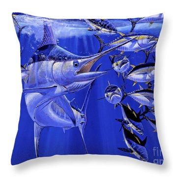 Blue Marlin Round Up Off0031 Throw Pillow