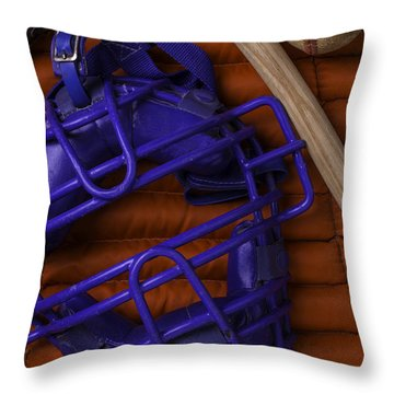 Blue Mask With Bat And Ball Throw Pillow by Garry Gay