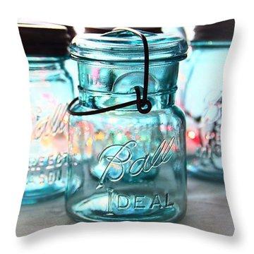 Blue Mason Jars Throw Pillow