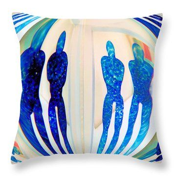 Blue Men Abstract Throw Pillow