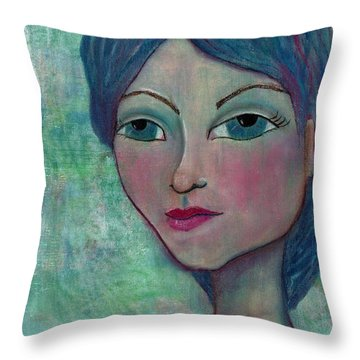 Throw Pillow featuring the mixed media Blue Mermaid Girl by Lisa Noneman