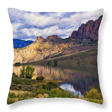 Blue Mesa Reservoir Digital Painting Throw Pillow by Priscilla Burgers
