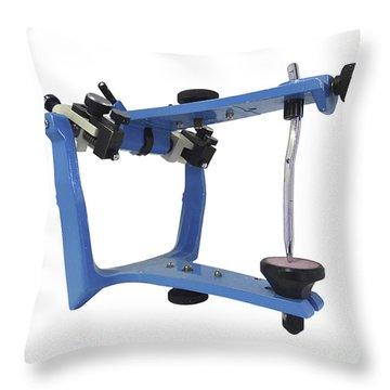 Blue Metallic Articulator Used Throw Pillow by Elena Duvernay