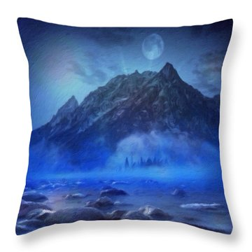 Throw Pillow featuring the digital art Blue Mist Rising by Mark Taylor