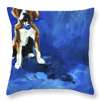Blue Monday Throw Pillow by Maria's Watercolor