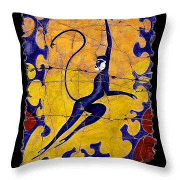 Blue Monkey No. 13 Throw Pillow