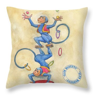 Throw Pillow featuring the painting Blue Monkeys by Lora Serra