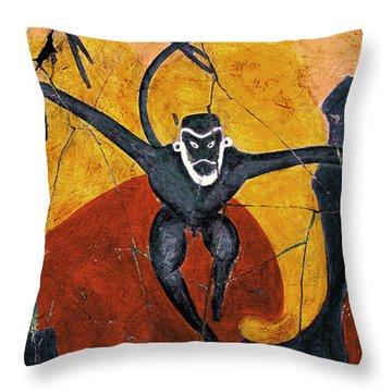 Blue Monkeys No. 8 - Study No. 3 Throw Pillow