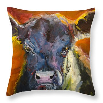 Blue Moo Throw Pillow