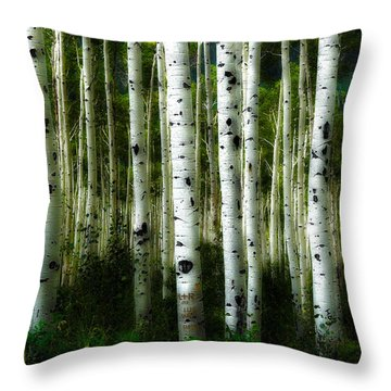 Throw Pillow featuring the photograph Blue Mood Aspens I by Lanita Williams