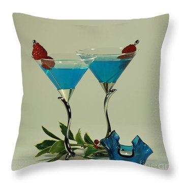 Blue Moon Curacao Cocktails For Two Throw Pillow by Inspired Nature Photography Fine Art Photography