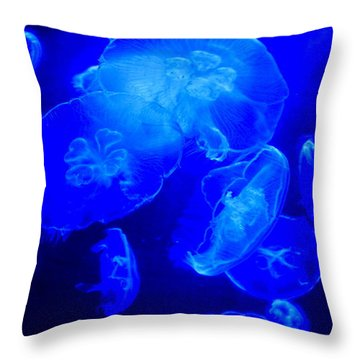 Blue Moon Jellies Throw Pillow