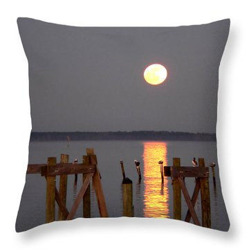 Blue Moon On The Bay On New Years Eve 2009 Throw Pillow