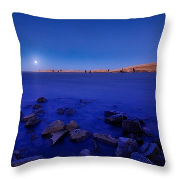 Blue Moon On The Rocks Throw Pillow