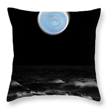 Blue Moon Over The Sea Throw Pillow