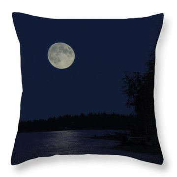 Blue Moon Throw Pillow by Randy Hall