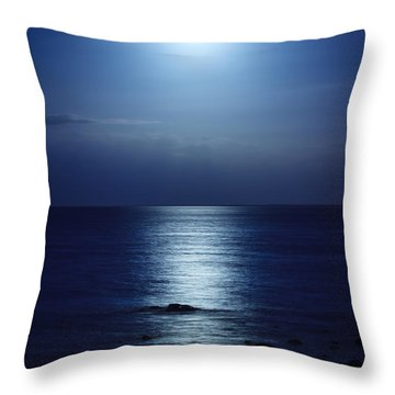 Blue Moon Rising Throw Pillow by Peta Thames