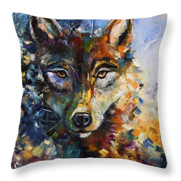 Blue Moon Wolf Throw Pillow