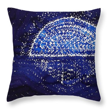 Blue Moonrise Original Painting Throw Pillow