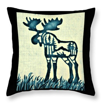 Blue Moose Throw Pillow