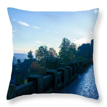 Blue Morning On The Bastei Throw Pillow