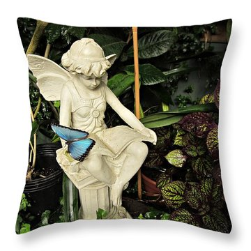 Blue Morpho On Statue Throw Pillow by MTBobbins Photography