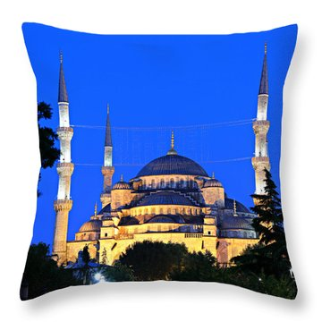 Blue Mosque At Dawn Throw Pillow by Stephen Stookey