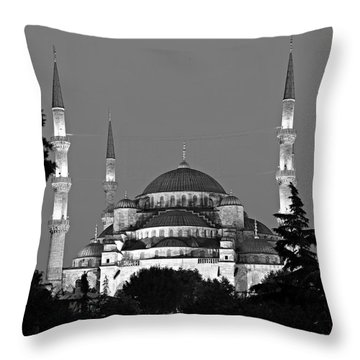 Blue Mosque In Black And White Throw Pillow by Stephen Stookey