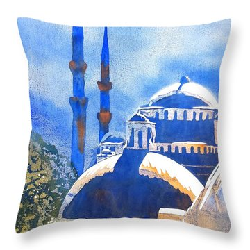 Blue Mosque In Blues Throw Pillow