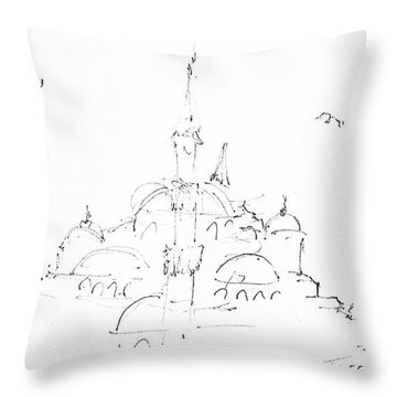 Blue Mosque Throw Pillow by Valerie Freeman