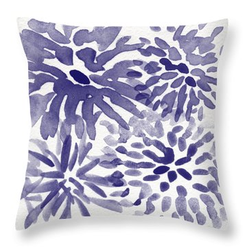 Blue Mums- Watercolor Floral Art Throw Pillow