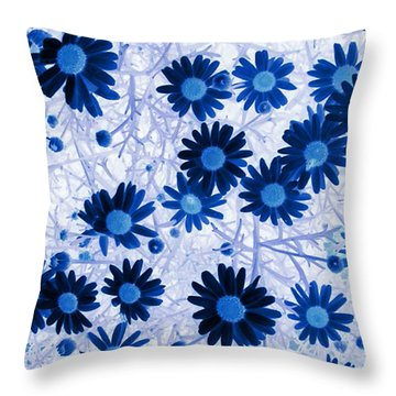 Throw Pillow featuring the digital art Blue Mystical Daisies  by Sandra Foster