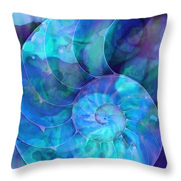 Blue Nautilus Shell By Sharon Cummings Throw Pillow by Sharon Cummings