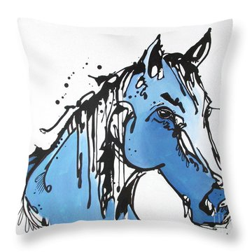 Throw Pillow featuring the painting Blue by Nicole Gaitan