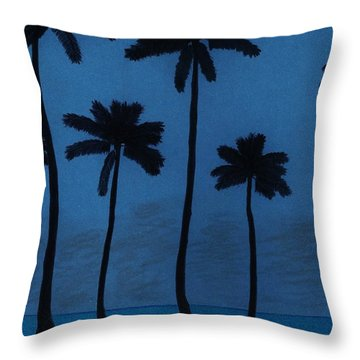 Blue - Night - Beach Throw Pillow