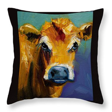 Blue Nose Cow Throw Pillow