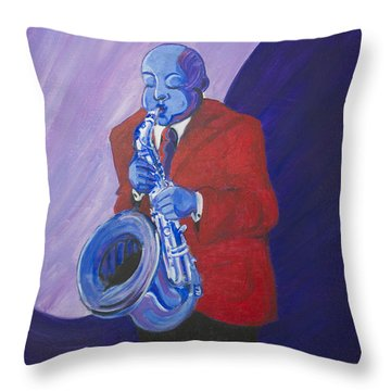 Throw Pillow featuring the painting Blue Note by Dwayne Glapion