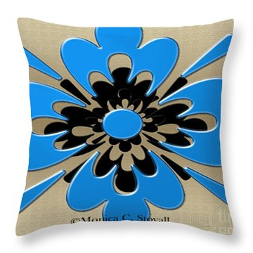 Blue On Gold Floral Design Throw Pillow
