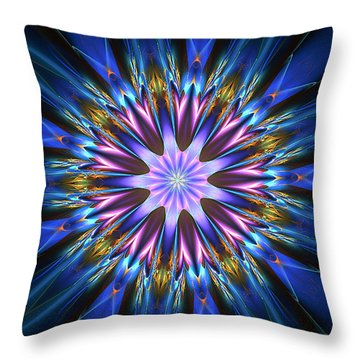 Blue Oomph Fractal Mandala Throw Pillow