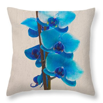 Blue Orchid Throw Pillow by Scott Carruthers