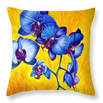Blue Orchids 1 Throw Pillow