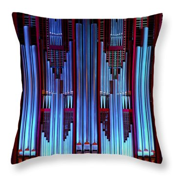 Blue Organ Pipes Throw Pillow