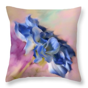 Blue Painted Flower Throw Pillow