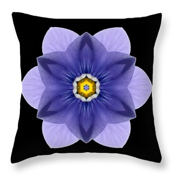 Throw Pillow featuring the photograph Blue Pansy I Flower Mandala by David J Bookbinder