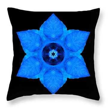 Throw Pillow featuring the photograph Blue Pansy II Flower Mandala by David J Bookbinder