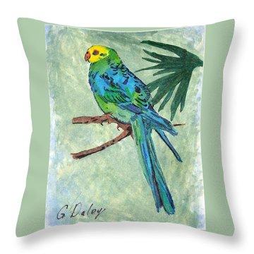 Blue Parakeet Throw Pillow by Gail Daley