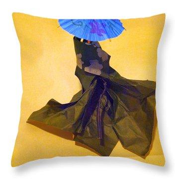 Blue Parasol Throw Pillow