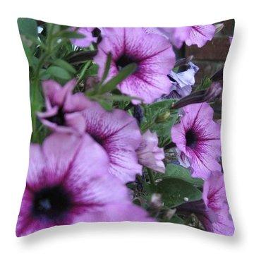 Blue Petunias Throw Pillow
